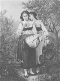 deux jeunes alsaciennes au jardin by camille alfred pabst