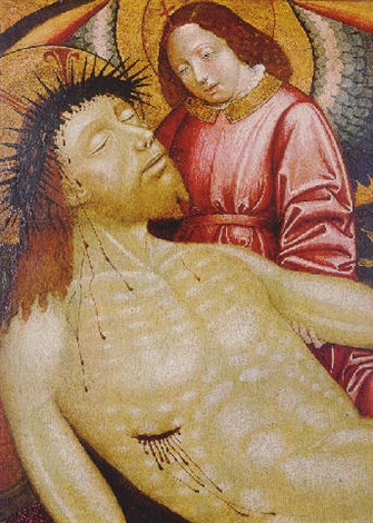 an angel supporting the dead christ by french school avignon 16