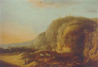 travellers on a road by a river in a mountainous landscape, at sunset by françois van knibbergen