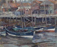haringbooten, whitby; harbour scene by hendrik jan wolter