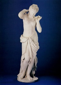 a marble figure of an egyptian maiden by giulio tadolini