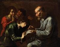 der schullehrer (oder die knabenschule) by master of the annunciation to the shepherds