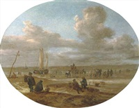 fishermen trading on a beach with a sailing vessel in rough waters beyond by abraham susenier