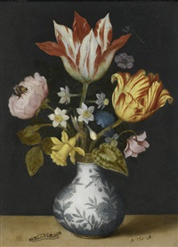 still life of flowers in a wan-li vase, including tulips, narcissi, a sweet-briar, liver-leaf, cyclamen, wild pansy and a rose, with a dragonfly, bumblebee and caterpillar by ambrosius bosschaert the elder