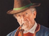 pipe smoking old man by otto eichinger