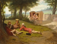 gossip of ye olden time, groups of men and women conversing in a landscape by benjamin franklin reinhart