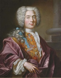portrait of nicolaus deucher in an embroidered vest and plum silk cloak by nicolas bailly