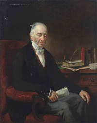 portrait of william davis of leytonstone, seated at his desk, three-quarter length by thomas arrowsmith