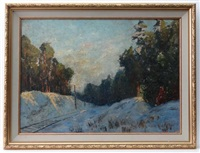 winter scene with snow on railway embankment by ulrich w. fisher