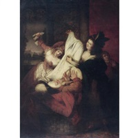 mrs page, mrs ford and falstaff. falstaff goes into the basket; they cover him with foul linen (scene from act iii scene iii, the merry wives of windsor) by rev. matthew william peters