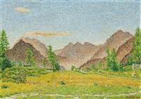 engadiner landschaft by gottardo guido segantini