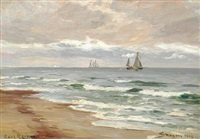 seascape with sailing ships off the coast of skagen by carl ludvig thilson locher