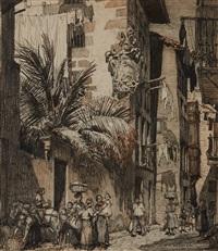 la maison à l'escudo, calle mayor, à guetaria by francois maurice roganeau