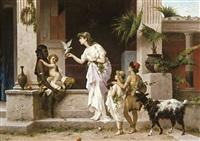scène dans l'ancienne ville de pompéi by luigi crosio