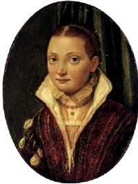 portrait of sofonisba anguissola, half length, wearing a red doublet over a cream shirt, with blue pearl drop earrings by lucia anguissola