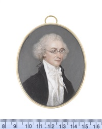 a gentleman, wearing spectacles, black coat, white waistcoat, chemise, stock and cravat, his powdered hair tied with a fine black ribbon bow by samuel andrews
