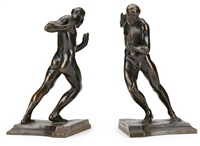 pushing men bookends by harriet whitney frishmuth