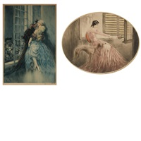 madame bovary; lovers (2 works) by louis icart