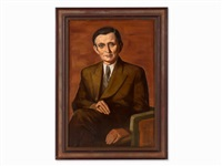 oil painting, male portrait,1950 by wilhelm lachnit