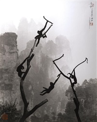 gibbons at play, tianzi mountain by don hong-oai