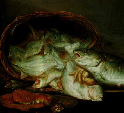 A still life of assorted fish in a basket with crabs, salmon