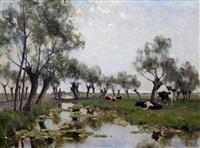 landschap met koeien by gerard altmann