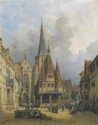 rathaus in michelstadt: a dancing bear on the town square by michael neher