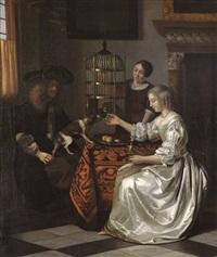 jeune femme nourrissant son perroquet by pieter de hooch