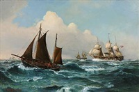 seascape with ships on a windy day by vilhelm victor bille