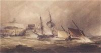 boats running for folkstone harbour by alfred herbert