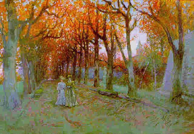 la promenade dans la grande allée en automne by charles de meixmoron de dombasle