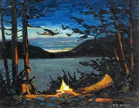 the comfort of a campfire (nightfall, hector lake, ab) by keith c. smith