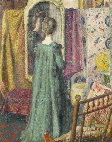 lady in front of a mirror by georges lemmen