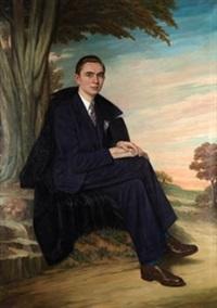 retrato de joven con fondo de paisaje by jesus rodriguez corredoyra de castro