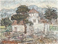 holy trinity in pendeli (+ harbour view of keratsin, oil on panel, smaller; 2 works) by michalis kandylis