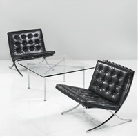 early and rare pair of barcelona chairs, model mr 80, and a tugendhat table, model mr 150 (set of 3) by ludwig mies van der rohe