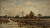 paysage au clocher (+ paysage; pair) by charles-edouard lemaitre