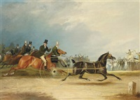 squire osbaldeston's celebrated trotter tom thumb racing against time by francis calcraft turner