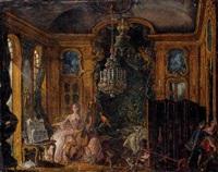 scène d'intérieur régence avec une violoncelliste by alexis peyrotte