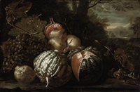 grapes, a lemon, pomegranates, melons and figs on a mossy bank, a landscape beyond by michelangelo di campidoglio