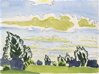 lacy trees and sunlit clouds by charles ephraim burchfield