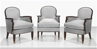 armchairs (set of 3) by jules leleu