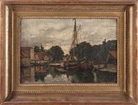 bateau dans un canal animé by emile louis vernier