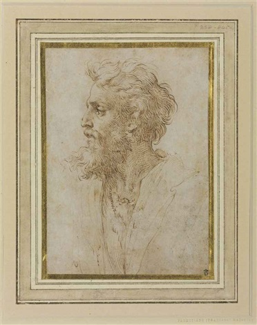 head of a bearded man in profile facing left possibly a self portrait by parmigianino