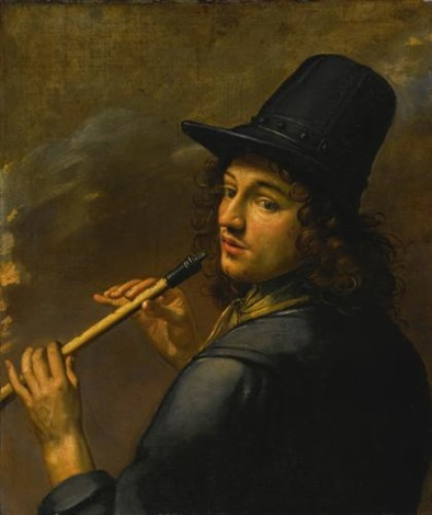 young man playing a recorder by french school (17)