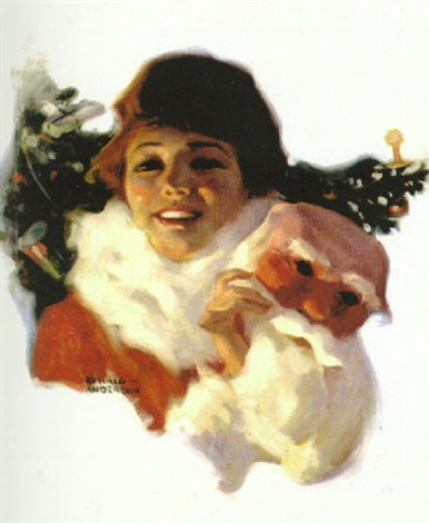beautiful woman removing santa claus mask by ronald lee anderson