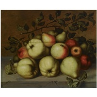 a still life with pears and apples on a stone ledge by johannes bouman