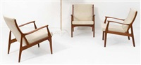 suite de trois fauteuils (set of 3) by s.a. andersen, erik andersen and palle pedersen