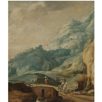 a mountainous landscape with a cavalier and a huntsman in the foreground by jan de momper