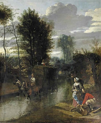 a wooded river landscape with a hay cart crossing a stream and figures gathering wood on the bank by jan siberechts